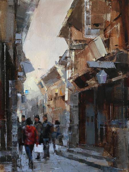 QIANG HUANG WUZHEN STREET 1 oil on canvas 16 x 12 in (30.48h x 40.64w cm)