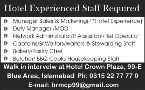 Jobs in Pakistan: Hotel Crown Plaza Islamabad Jobs 2015 October Walk...