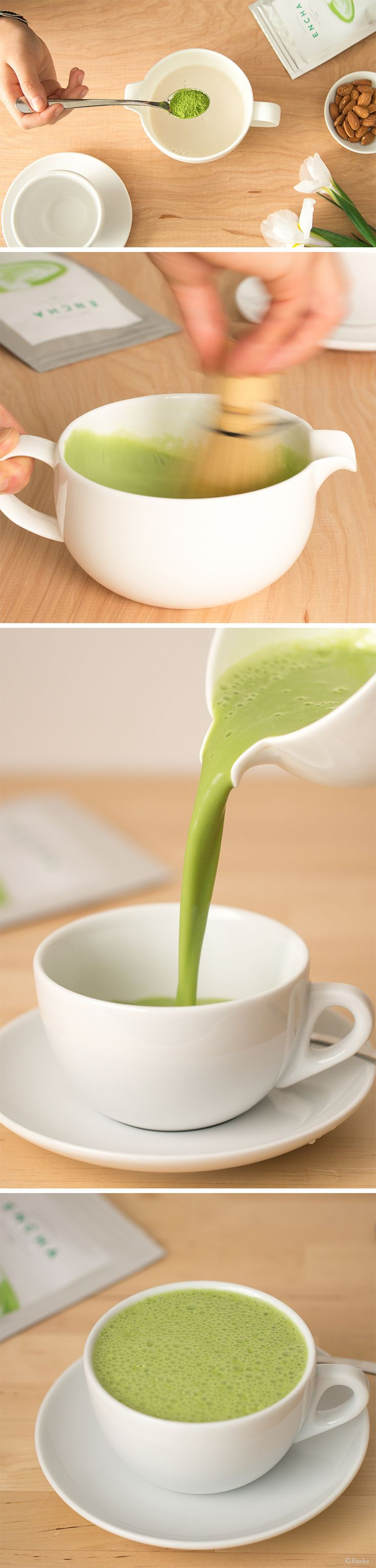 Simple Matcha Latte by encha: Use the milk of your choice and sweeten to taste. #Beverage #Matcha_Latte #Healthy