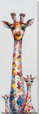 Polka-Dotted Giraffe Trio Handutsmyckad kanvas