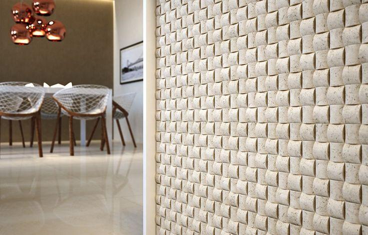 Mosaico 3D Travertino Portodesign