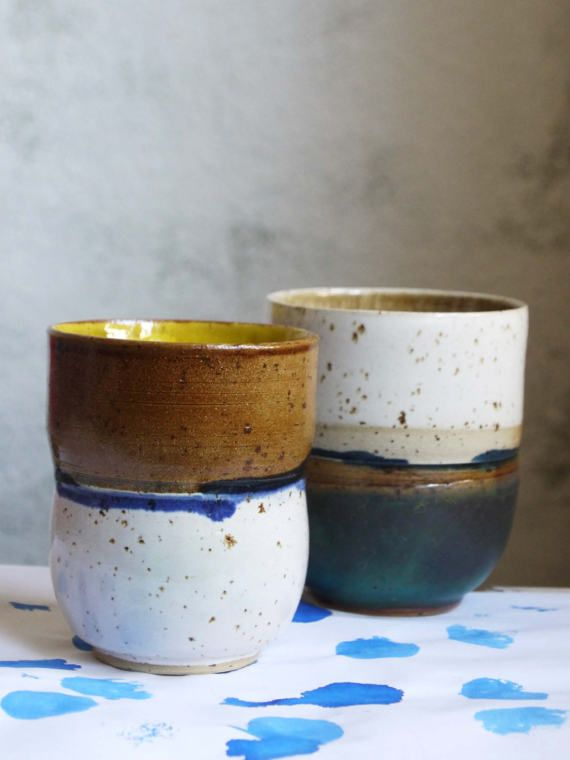 Cup Set, coffee and tea lovers gift, Modern Cups, Unique pottery cup, unusual present for two
