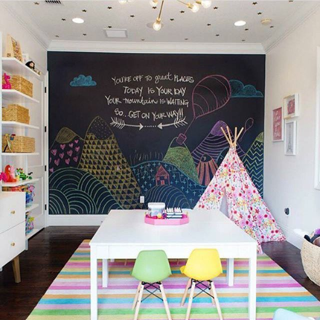 Playroom perfection - that chalkboard wall is too much fun! via @steelestreetstudios