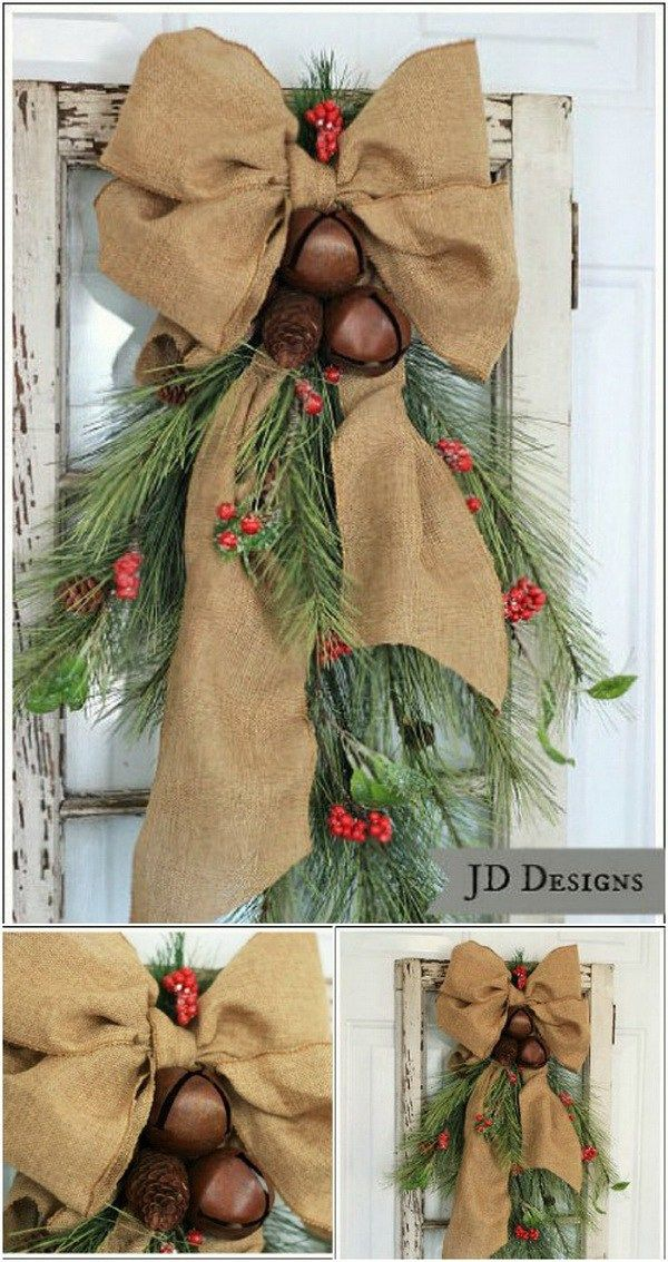 Cedar Pine Cone and Bell Front Door Swag. Add some rustic charm to your Christmas decorating with this cedar pine cone and bell front door swag!