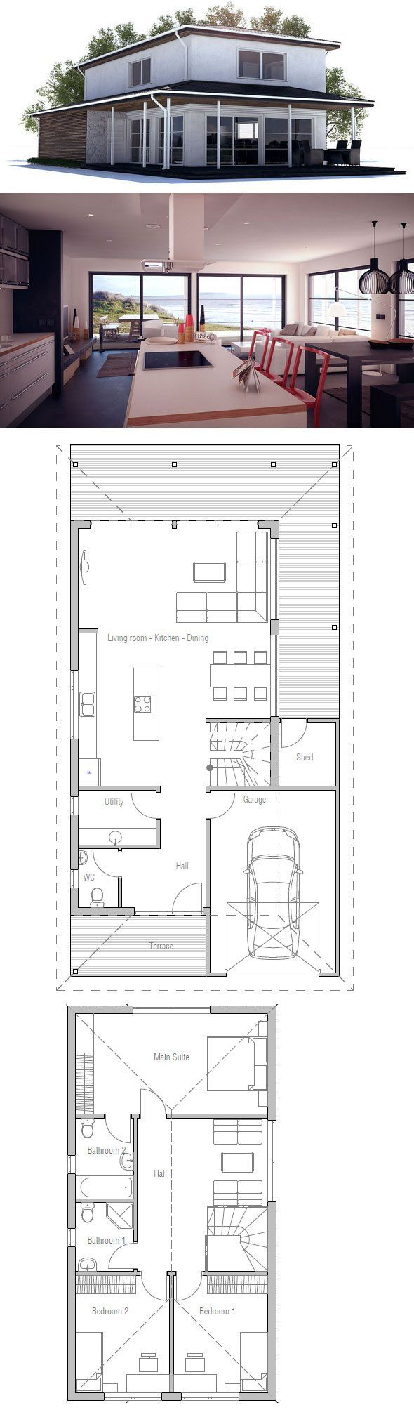Small House Plan to narrow with three