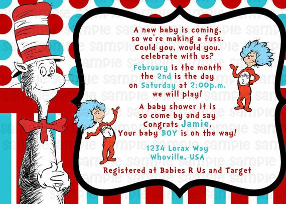 46 best images about Dr Seuss baby shower – Cat in the Hat Party Invitations