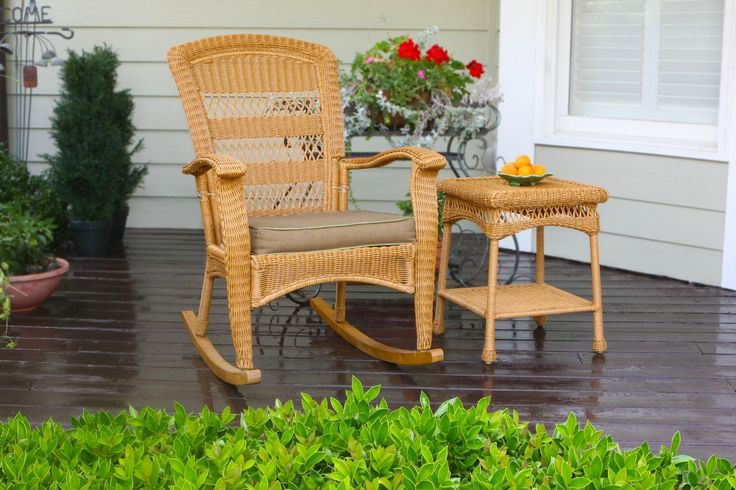 Tortuga Outdoor PSR-P-AM Rocking Chair. The Portside Collection - An attractive, affordable and comfortable wicker furniture seating set with many complementary wicker furniture pieces. All furniture pieces feature powder coated steel frames hand woven with all-weather resin wicker. The Cushion dimensions are universal.