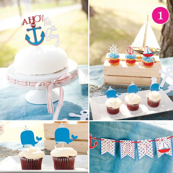 Shower Ideas, Baby Shower Baby Whales, Birthday Parties, Bridal Shower, Nautical Baby Showers, Shower Theme, Nautical Baby Shower Cupcakes, Boys Baby Shower, Baby Shower