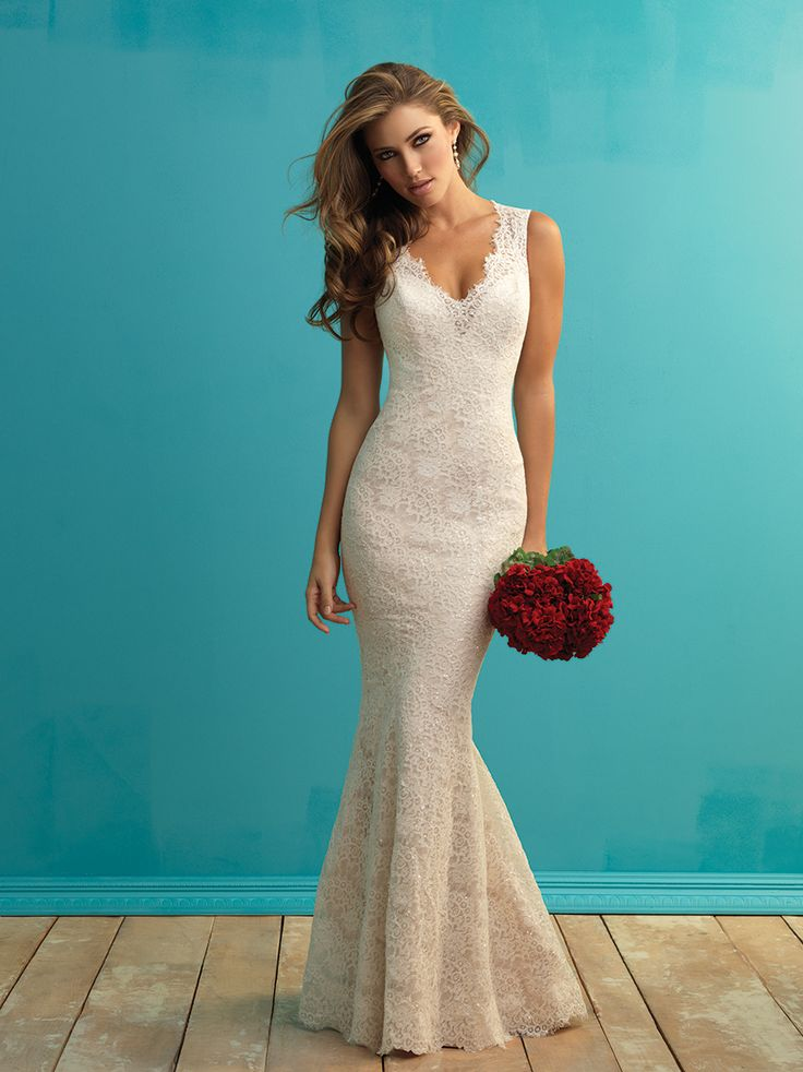 Allure Bridals #9253       Price: $1500-$1999 Silhouette: Sheath Neckline: V-Neck Waist Style: Natural Train Length: Chapel Fabric: Lace an Charmeuse Satin Embellishments: Lace