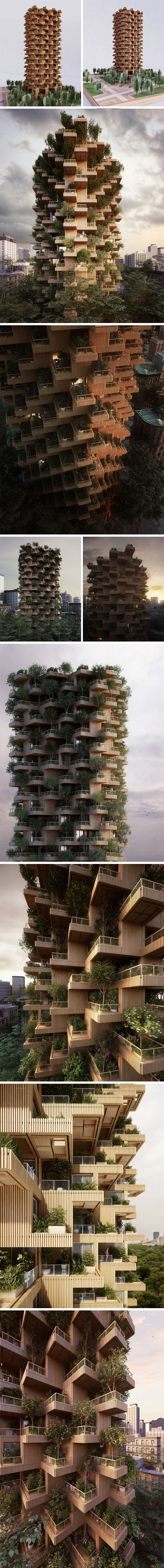Designed to be built using a modular system of wooden live-able unite, the Toronto Tower when completed will stand at 62 meters high. Each housing unit would also be home to a large number of plants and trees growing in private gardens that are a part of each and every residential unit. These individual units would be made from CLT and would be built off-site and brought to the site for stacking in its unique format.