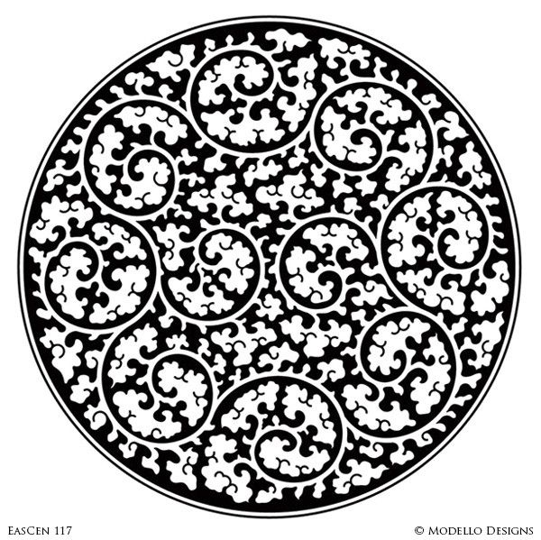 Decorative Concrete Stencils and Exotic Medallion Designs with Oriental Asian Moroccan Indian Style - Modello Custom Stencils