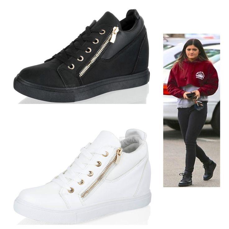NUEVO de Mujer Tacón Cuña Zapatillas Hi Top deporte platfrom Botines