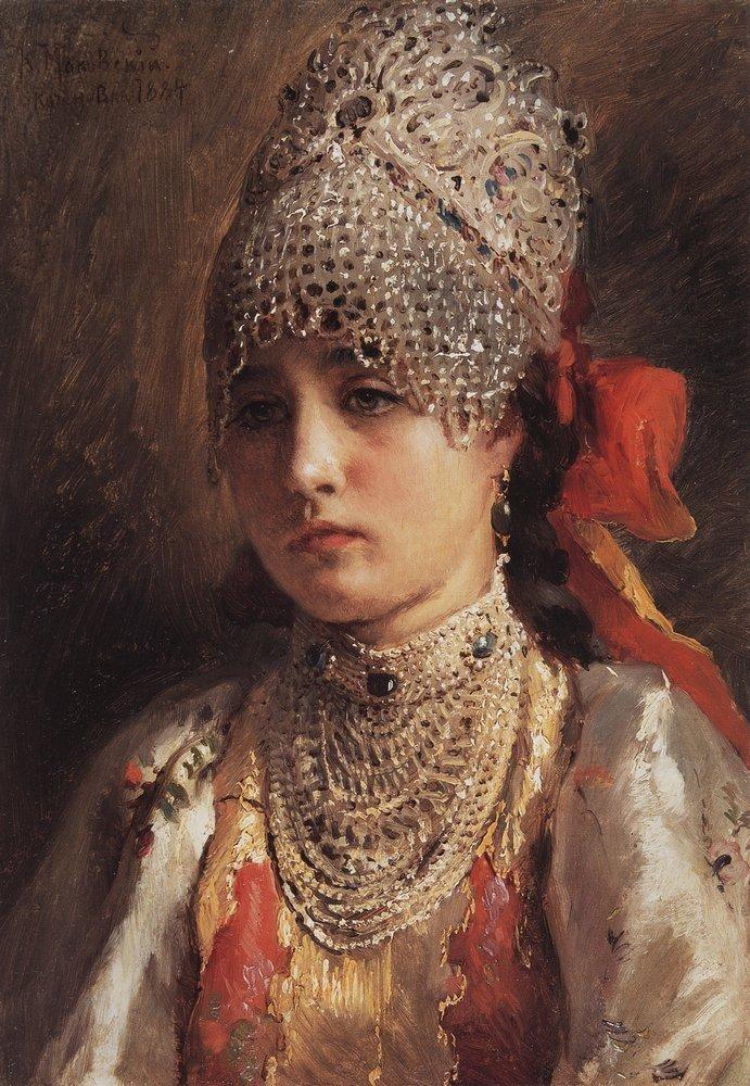 A Young Girl (Konstantin Egorovich Makovsky - 1884)