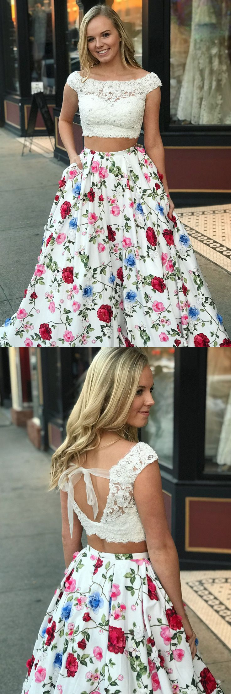 2018 two piece long prom dress, white lace and floral long prom dress, spring prom dress, party dress