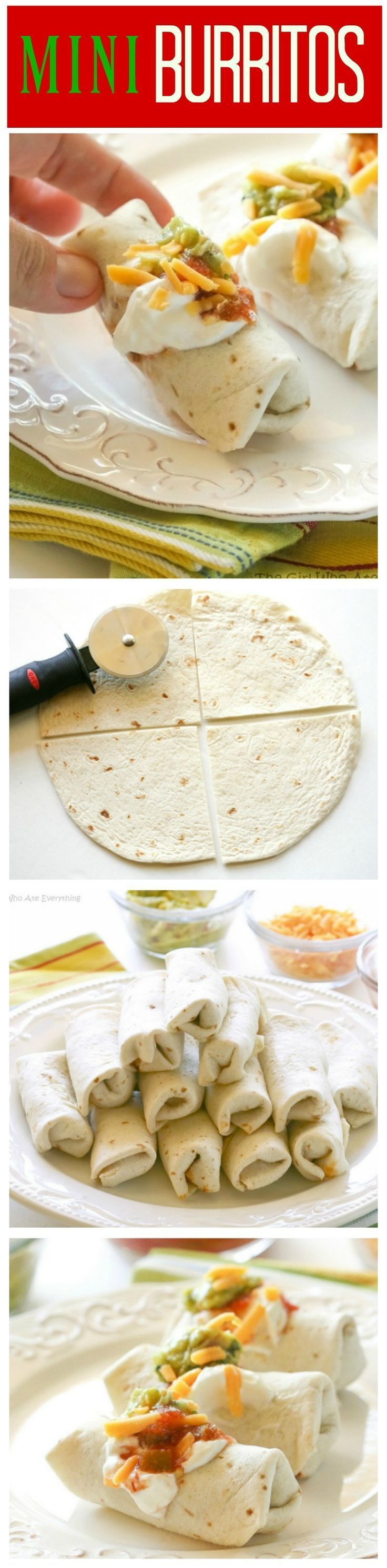 These Mini Burritos are filled with seasoned meat, beans, and cheese. Serve them as an appetizer and let your guests top their own. the-girl-who-ate-...