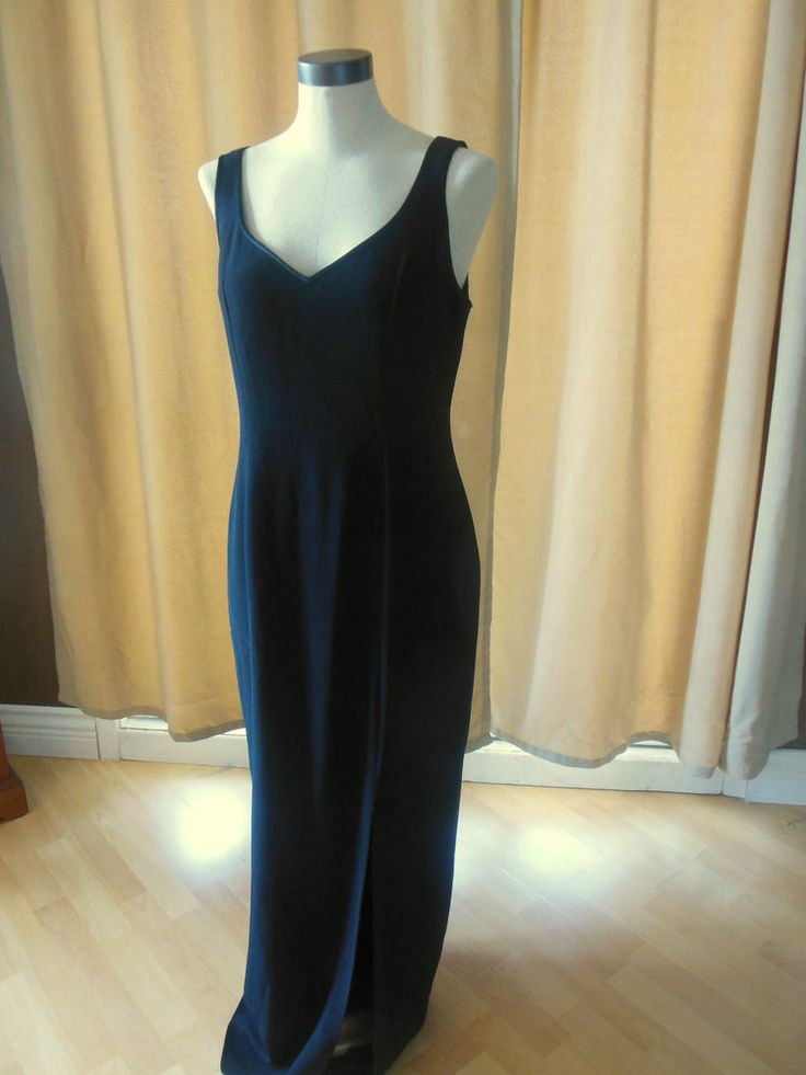 Vintage Bob Mackie Black Maxi Dress Evening Knit Sleeveless Holliday size 10 #BobMackie #Formal
