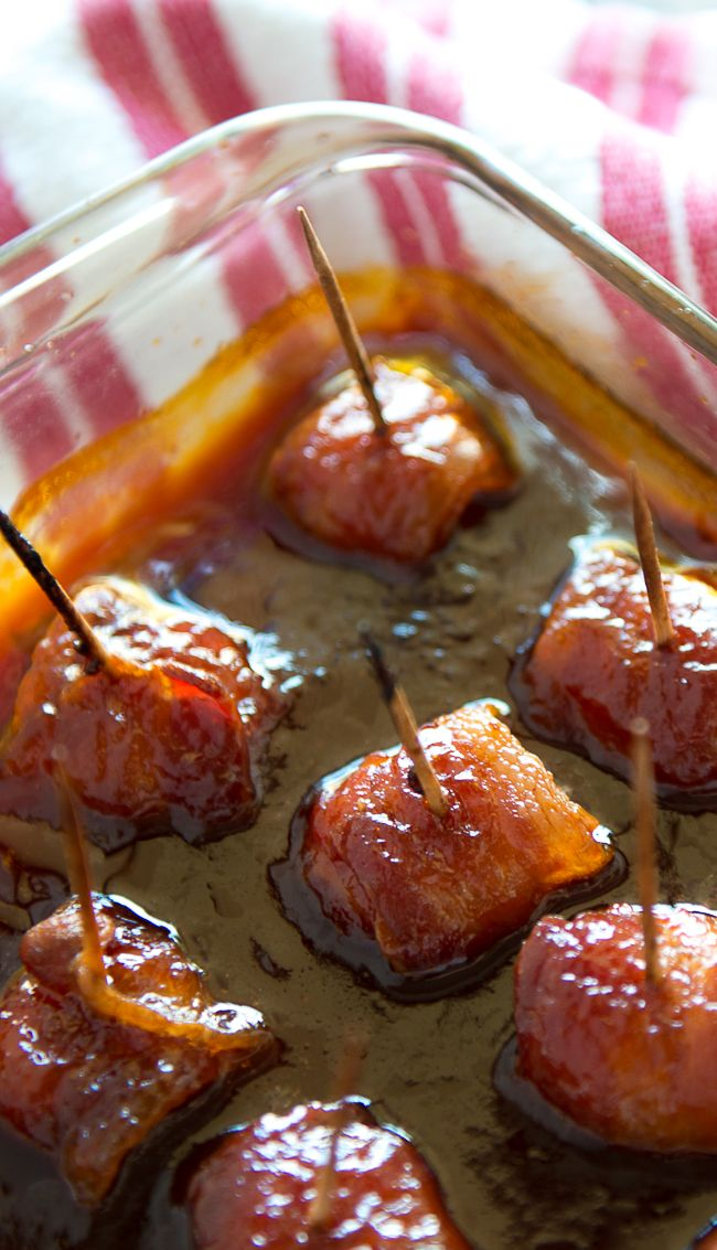 Bacon Wrapped Water Chestnuts - Just tried these for a holiday party. Such an easy and absolutely delicious appetizer recipe! You can't eat just one!