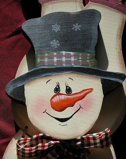 Painting Snowman Faces On Crafts   Painted Snowman wooden crafts upsidedown wodden handpainted craft ...