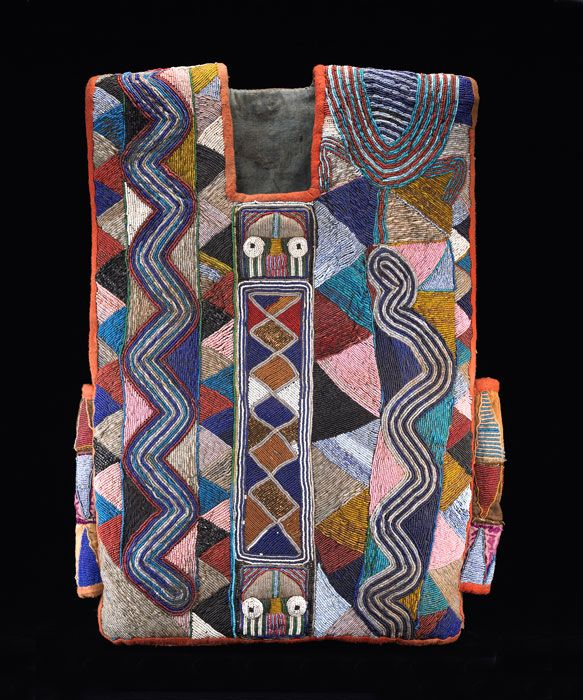 Africa | Tunic from the Yoruba people of Nigeria; Possibly Baba Adesina family workshop | Cotton and glass beads | Early 20th century //