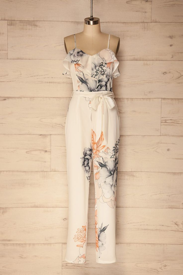 White floral frills crepe jumpsuit - Combinaison fleurie blanche en crêpe à volants