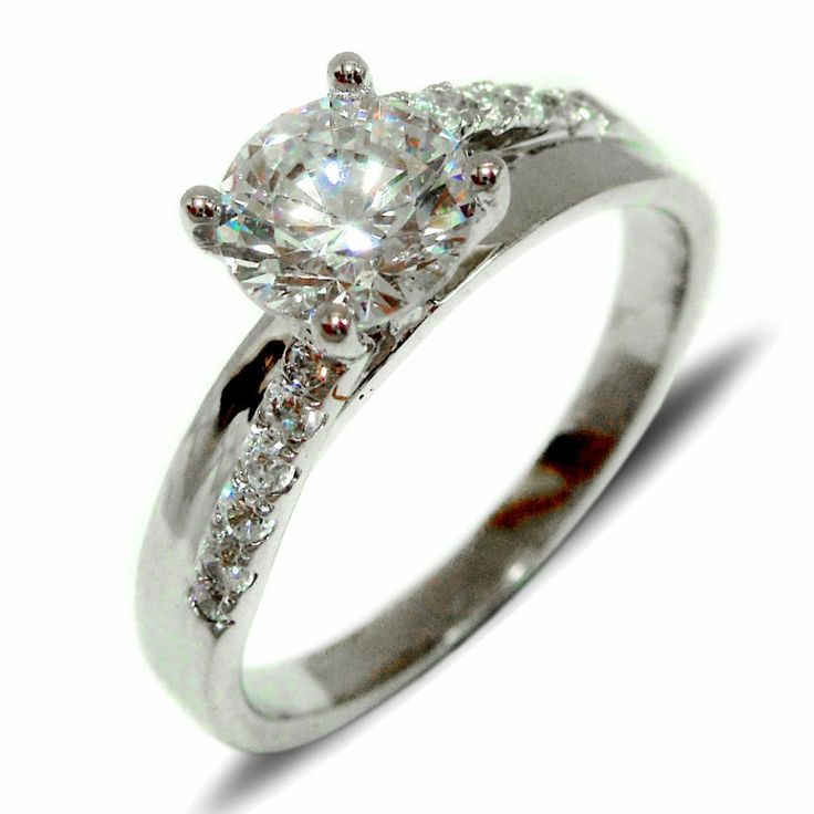 Solitaire Diamond Engagement Ring 14k White Gold