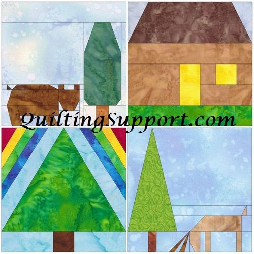 10 Inch Outdoors Foundation Set 1 Paper Piecing Quilting 4 Block Patterns PDF by HumburgCreations on Etsy