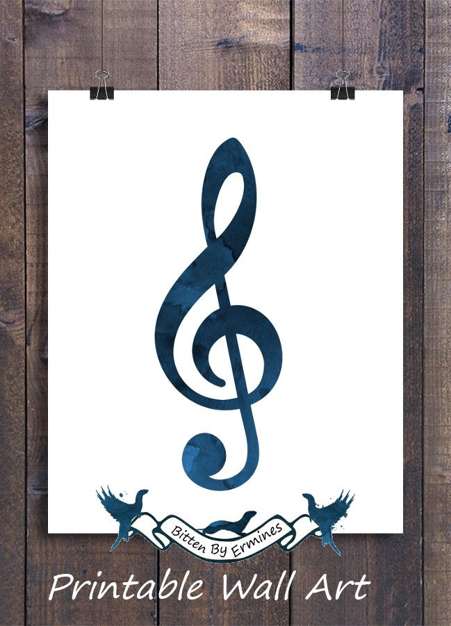 Treble clef, musical notes, wall art, music pictures, nursery room ...