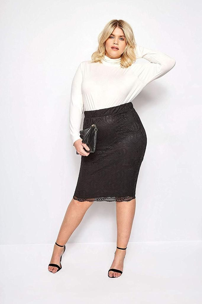 c40932a0973 Yours Clothing Women s Plus Size Lace Pencil Skirt with Scalloped Hem
