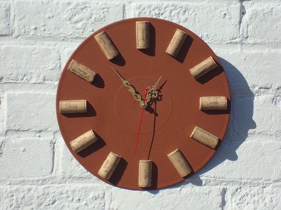 Wall clock Wine O'Clock, modern wall clocks, unique wall clocks, brown wall clock, clock with wine corks, shabby chic wall clock, home decor on Etsy, $50.00