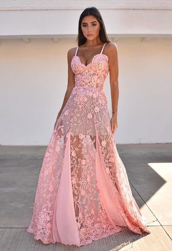 35 vestidos de festa com transparência nas pernas   Prom dresses long pink, Popular prom dresses, Dresses
