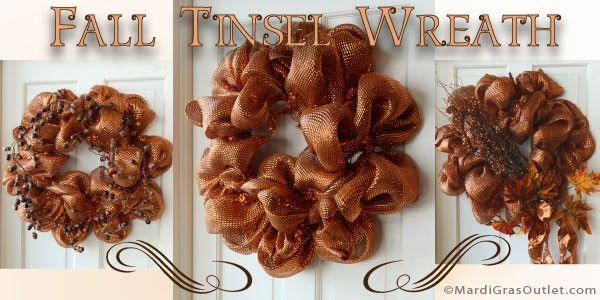 Party Ideas by Mardi Gras Outlet: Fall Wreath Tutorial in Copper Tones