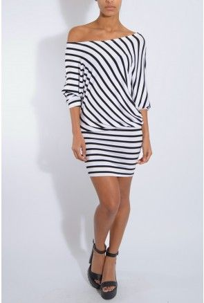 Black And White Asymmetric Stripe Dress | Rare London