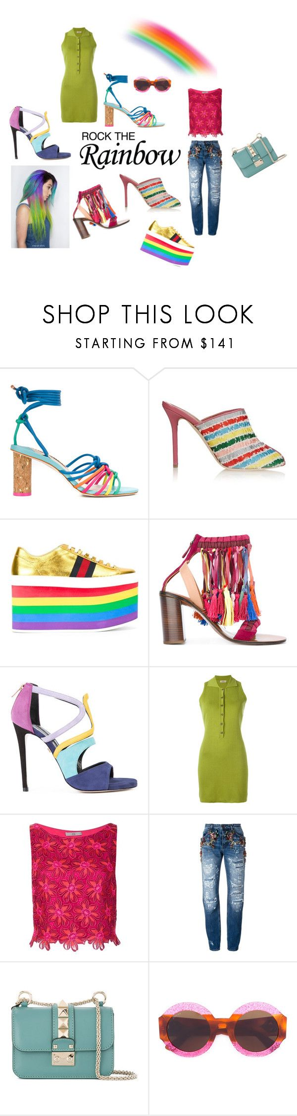 """Rock The Rainbow..**"" by yagna ❤ liked on Polyvore featuring Sophia Webster, Malone Souliers, Gucci, Chloé, Ruthie Davis, Romeo Gigli, ZAC Zac Posen, Dolce&Gabbana, Valentino and vintage"