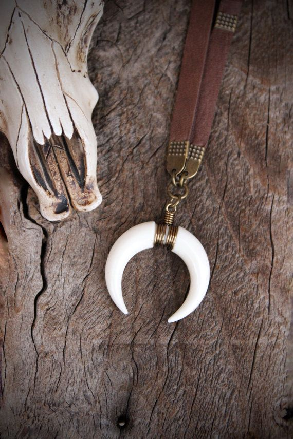 MEZTLI MOON Crescent Moon Horn Necklace by WildPeopleFreeSpirit