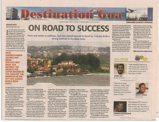 Destination One India featured in The Economic Times as Destination Goa. 13th August 2014