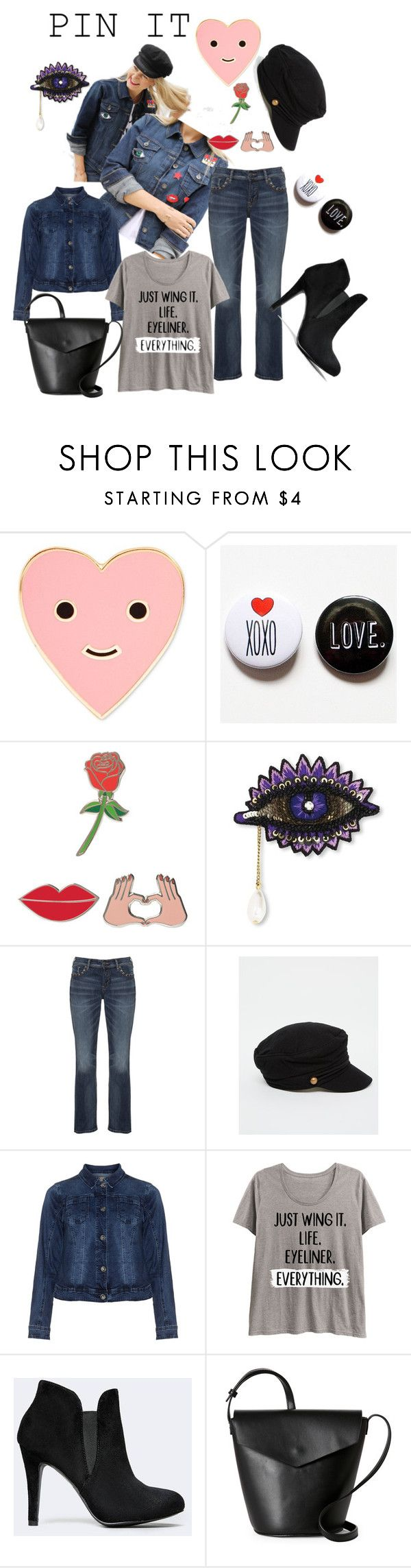 """""""Pin it"""" by shistyle on Polyvore featuring ban.do, iDecoz, Forest of Chintz, Silver Jeans Co., ASOS, Zizzi, LC Trendz, Street Level, pins and plussizefashion"""