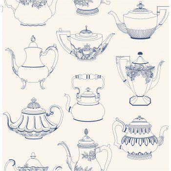 ‹ View All Fine Decor  ‹ View All Patterned Wallpaper  ‹ View All Kitchen & Bathroom  Fine Decor Tea Pots Wallpaper Blue / Cream  code:FD31191        Now £12.95