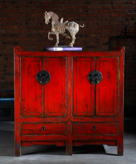 Red Chinese Chest. Furniture ...