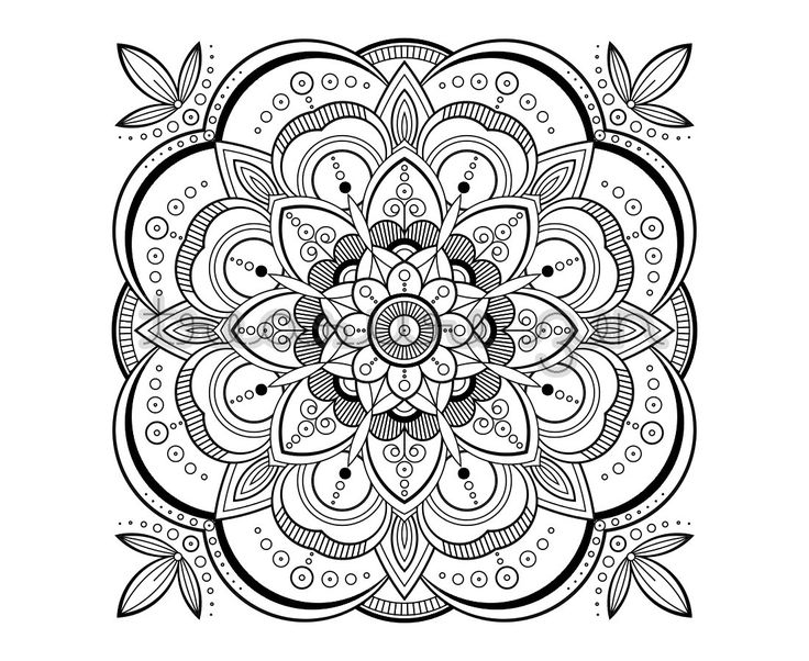 Printable Adult Coloring Book Page PDF Mandala Coloring