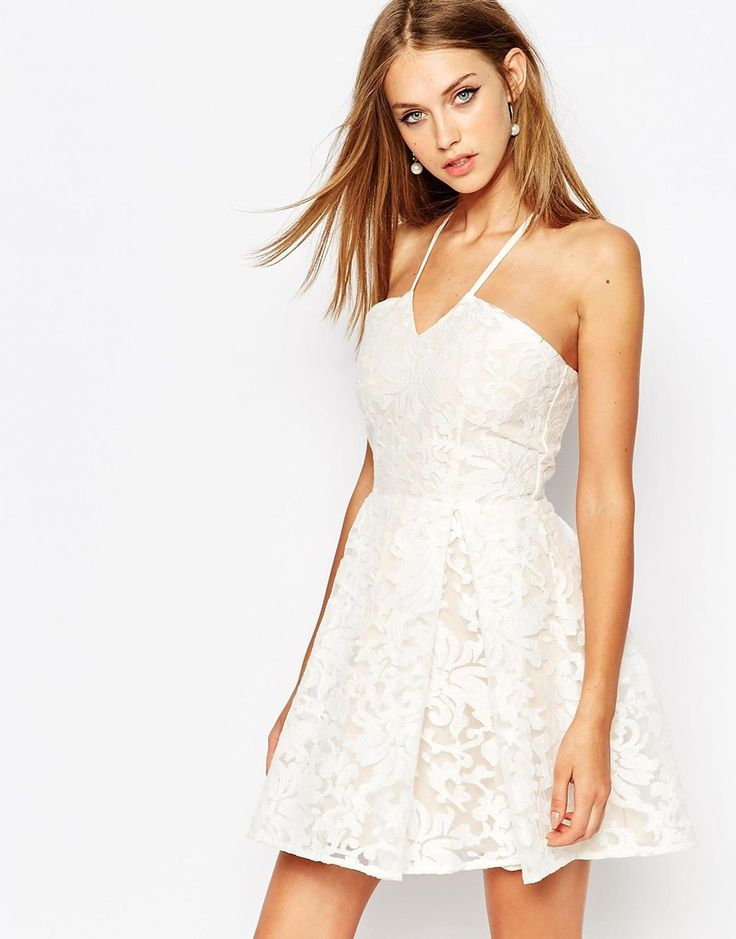 Image 1 of Missguided Lace Halter Skater Dress
