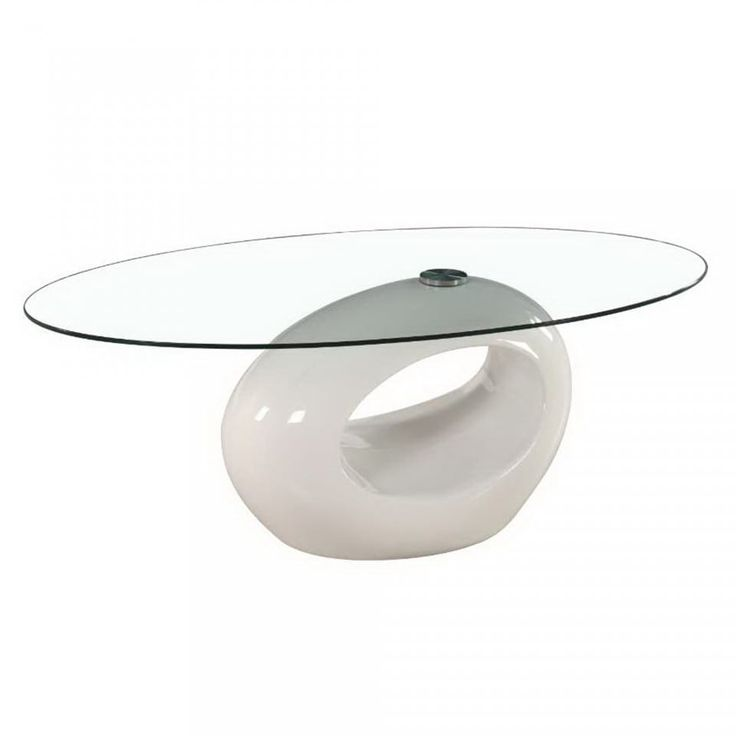 Oval Glass Coffee Table with Red, White and Black Glossy Base by Fab Glass and Mirror (White)