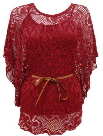 The Orange Tags Ladies Floral Lace Belted Batwing Womens Bell Sleeved Crochet Dress Top Vest Red: Amazon.co.uk: Clothing