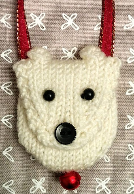 Free Knitting Pattern for Polar Bear Pouch - This little bag is 5 cm (2″), just large enough to hold small necessities or a small gift. Designed by Barbara Prime of Fuzzy Mitten.