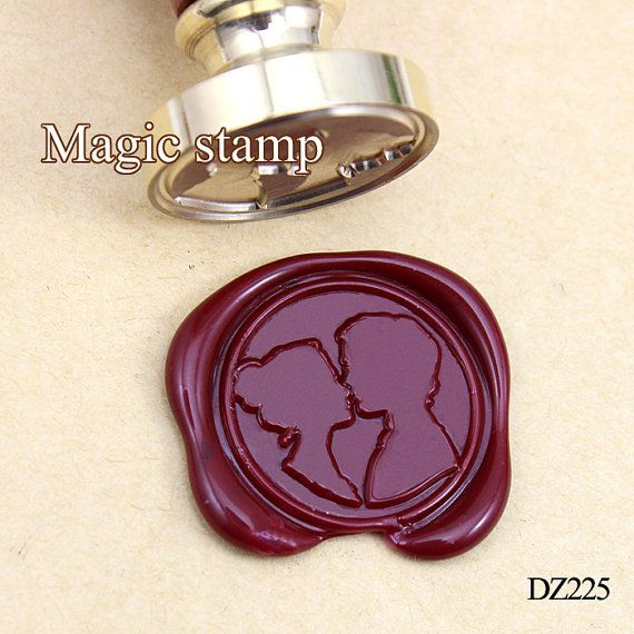 Couples kissing Wax Seal Stamp wedding stamp sealing by MagicStamp