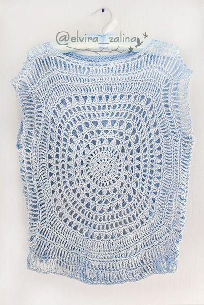 Купить или заказать Туника 'Голубые небеса' 100% хлопок в интернет-магазине на Ярмарке Мастеров. Стильная туника в бохо-стиле из высококачественной пряжи 100% хлопок. Полностью ручное вязание и нежно-голубой цвет. Воздушный геометрический узор и свободный фасон делают эту модель особенно комфортной и удобной. Можно носить отдельно и можно одевать на разноцветные топы, платья, купальники. В комплекте с туникой хлопковый топ светло-голубого цвета в тон (на фото).