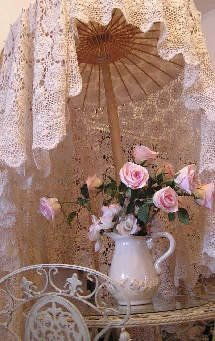 Shabby Chic Romance-| Ruffled Tablecloths- L.S.