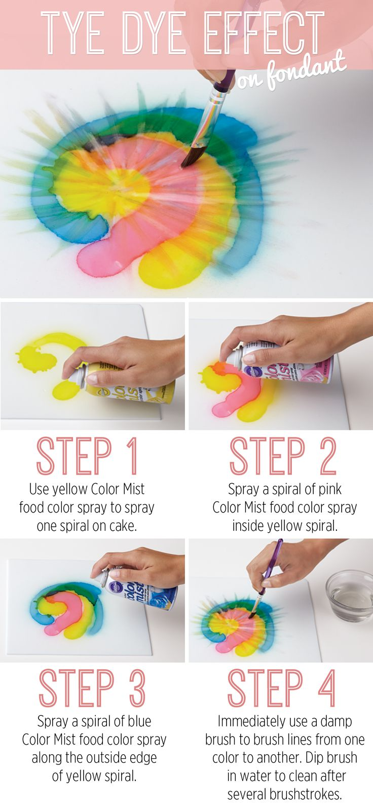 Use this easy technique to take your cakes and treats back to the 60's! Create the tye-dye effect with any three colors of Wilton Color Mist food color spray!