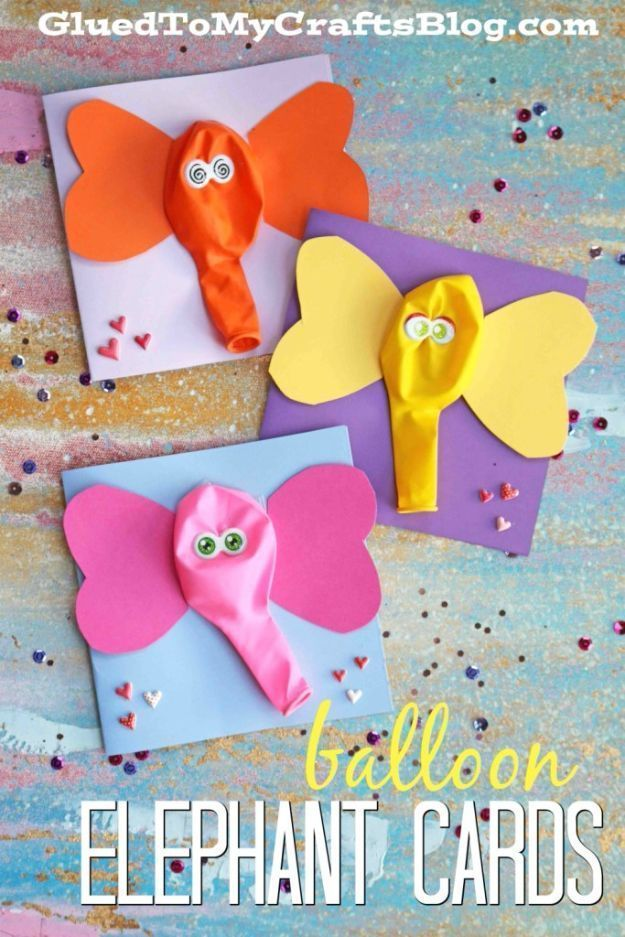 Crafts for Boys – Balloon Elephant Card Craft – Cute Crafts