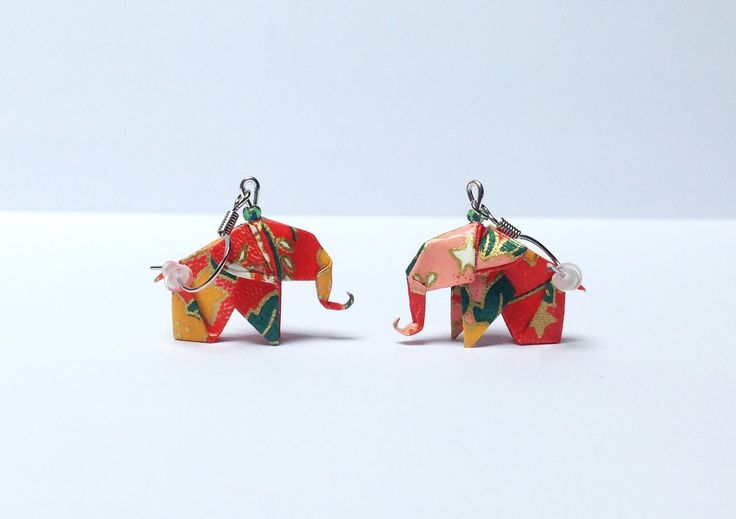 Bijou origami, boucles d'oreilles éléphants en papier japonais washi bo origami : Boucles d'oreille par 1000-grues-et-3-donuts