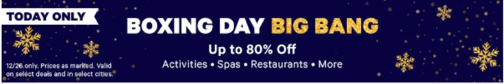 Groupon Canada Boxing Day Big Bang Offers: Save Up To 80% Off Local Deals Today http://www.lavahotdeals.com/ca/cheap/groupon-canada-boxing-day-big-bang-offers-save/157988?utm_source=pinterest&utm_medium=rss&utm_campaign=at_lavahotdeals